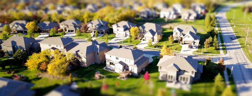a high angled shot of a neighborhood